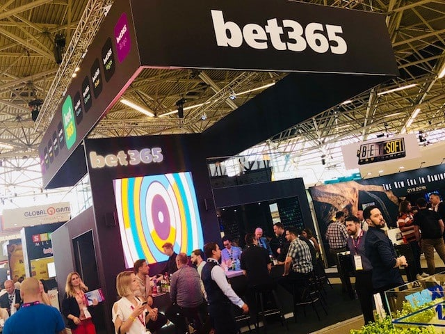 multi storey exhibition stand for bet365 with large ledskin videowall