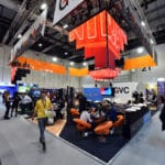 GVC brands stand with hanging led screens
