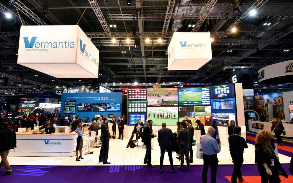 Vermanitia exhibition stand ICE 2019 with huge curved ledskin panel video wall