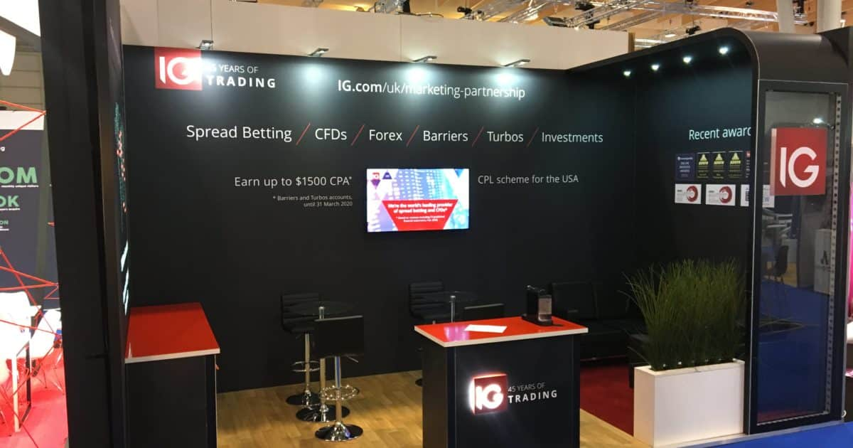 IG Markets at iGB Affiliate Lisbon 2019 6m x 3m