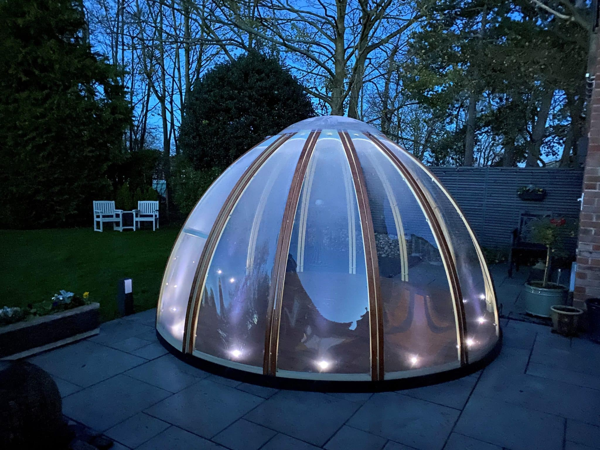 dining dome with floor uplights